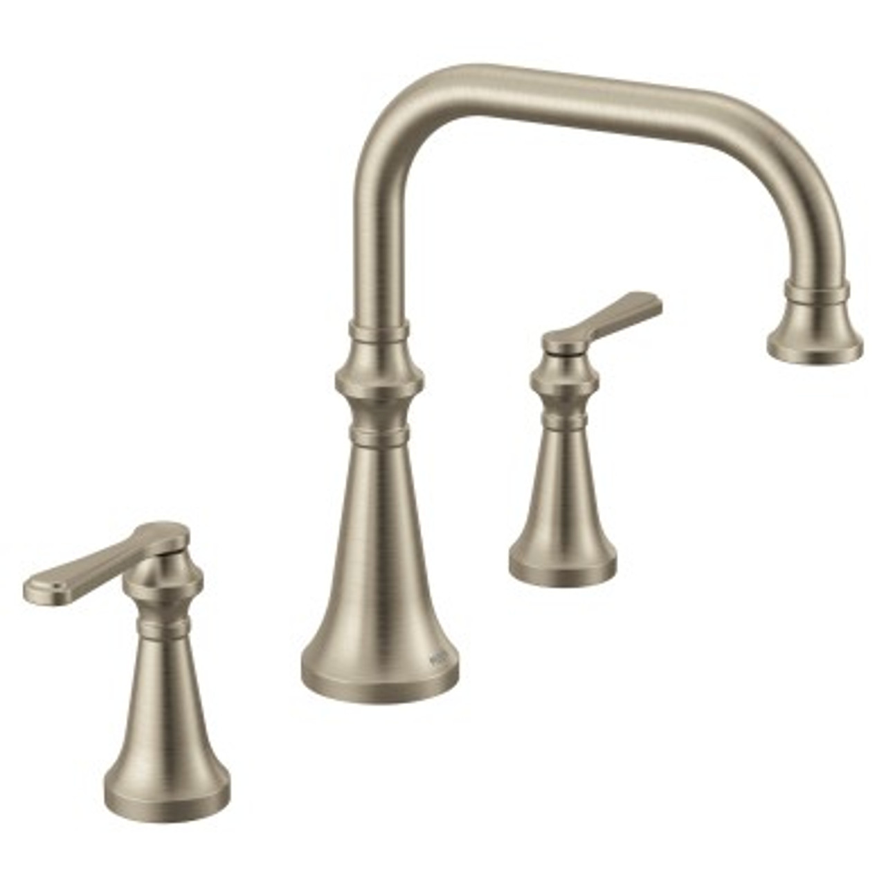 moen colinet brushed nickel two handle high arc roman tub faucet