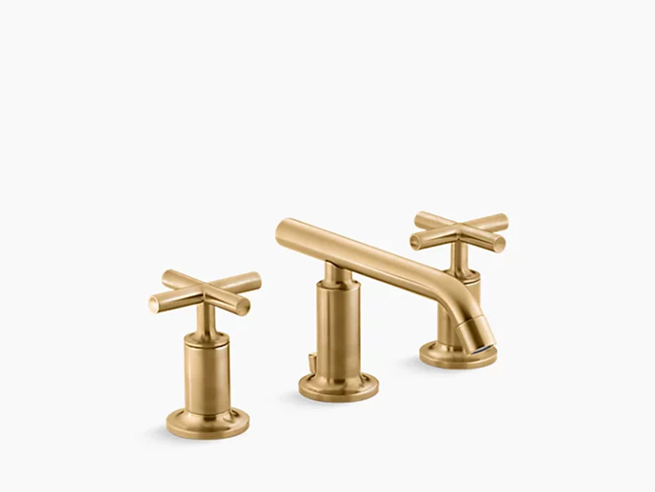 kohler purist widespread bathroom sink faucet with low cross handles and low spout in vibrant brushed moderne brass