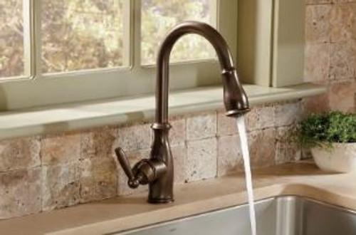 moen brantford single handle pulldown spray kitchen faucet with reflex technology