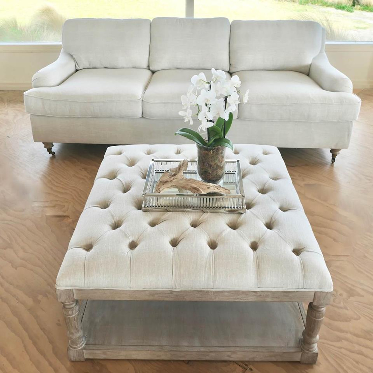 hamptons style tufted ottoman coffee table button chesterfield whitewash oak square linen standard oatmeal color