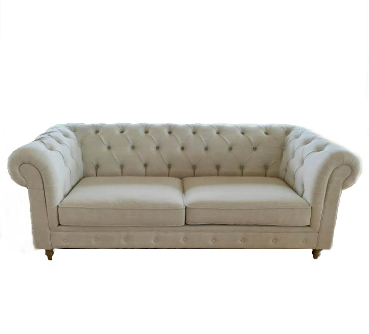 french linen tufted sofa indian set images hamptons chesterfield studded three seater couch off white 3 buttoned