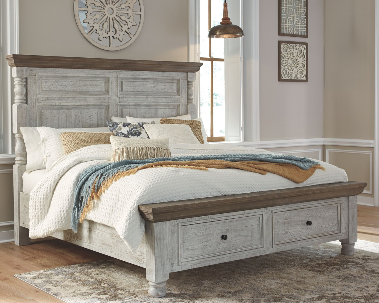 havalance white gray queen poster bed with storage