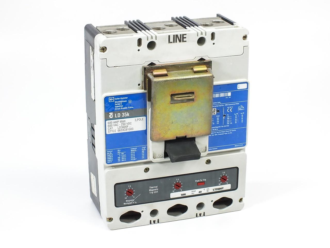 medium resolution of westinghouse ld3600f molded case circuit breaker 600a 35kaic 3 pole 600vac
