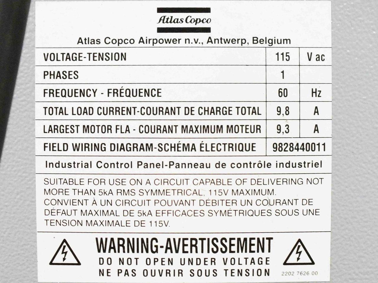 medium resolution of  atlas copco fx7 a6 refrigerated air dryer r 404 a compressor 115 volt ac