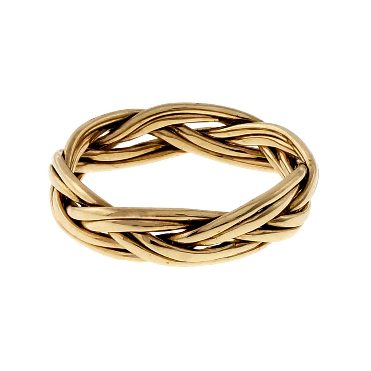 hight resolution of estate hand braided wire wedding band ring 14k yellow gold petersuchyjewelers
