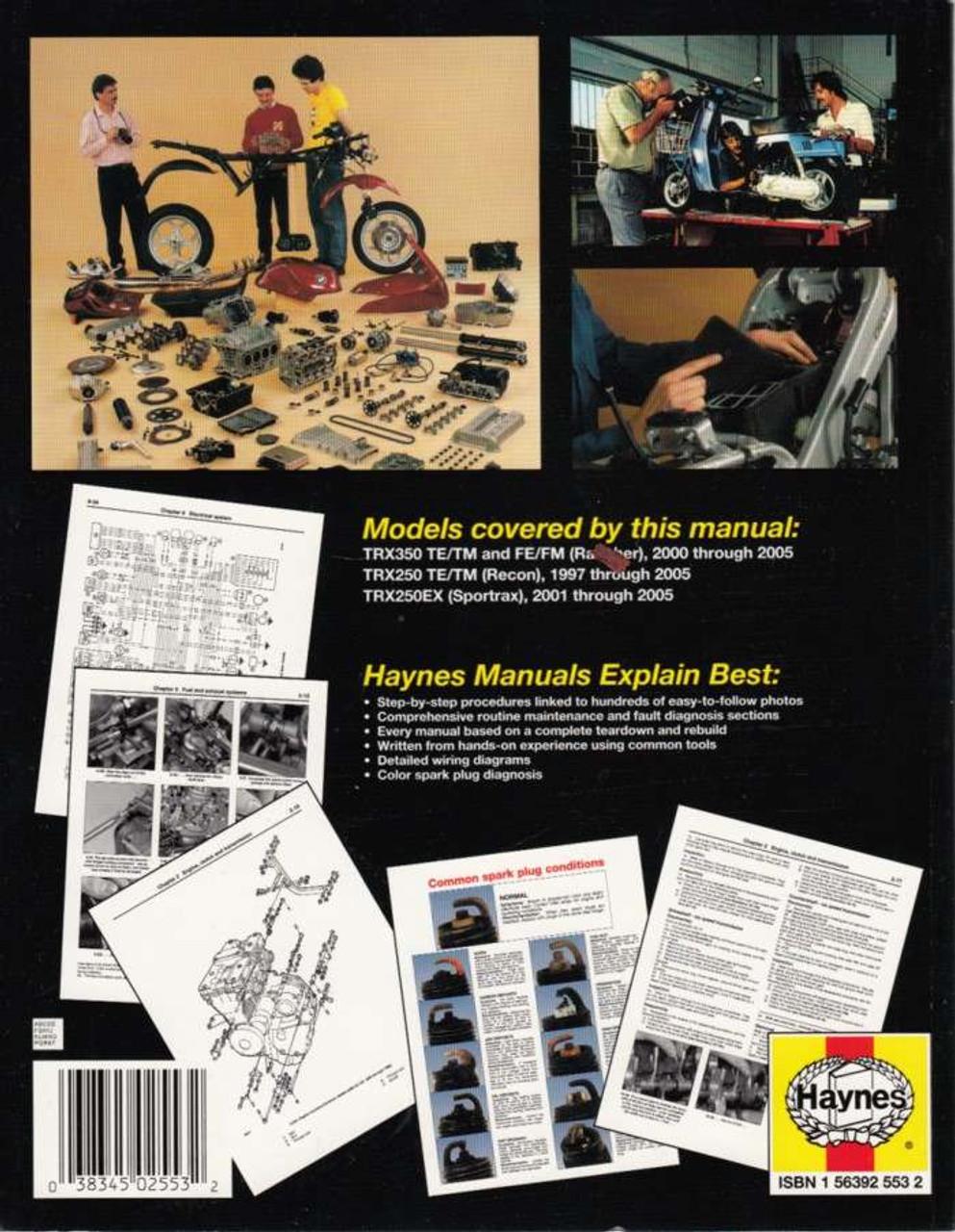 hight resolution of  honda trx350 rancher trx250 recon trx250ex sportrax atvs 1997 2005 workshop manual back