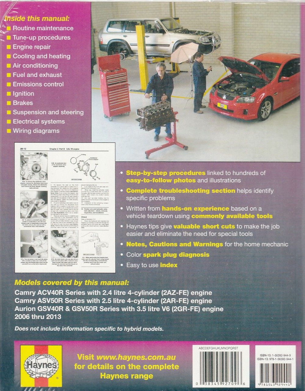 small resolution of  toyota camry aurion 2006 2013 workshop manual back cover