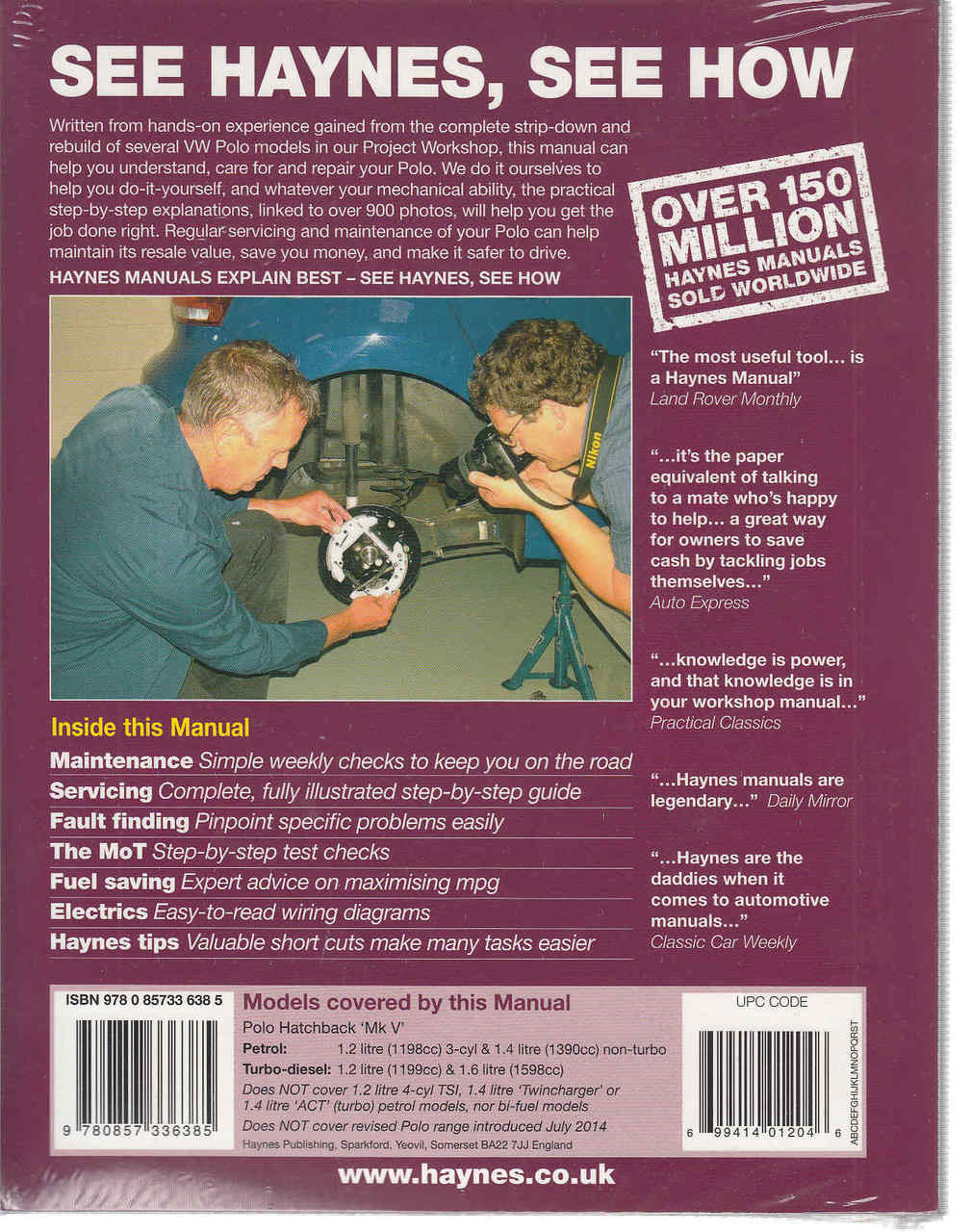 volkswagen polo 2009 2014 petrol diesel owners workshop manual back cover [ 1009 x 1280 Pixel ]