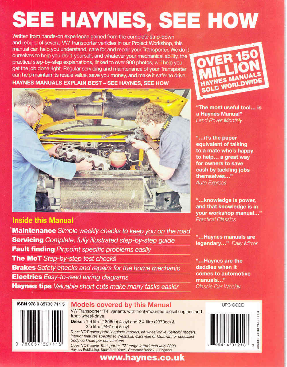 medium resolution of  vw transporter t4 1990 to 2003 diesel workshop manual back