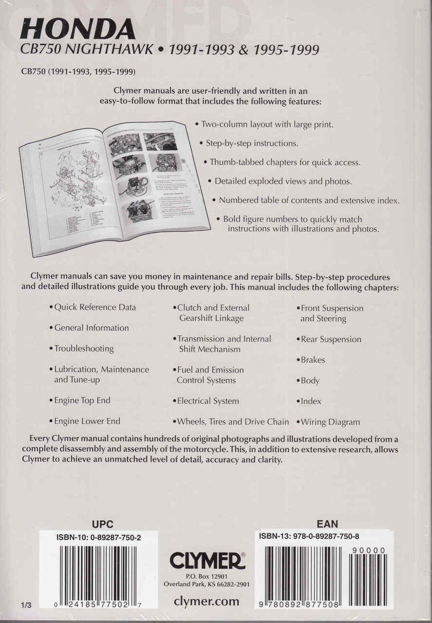 hight resolution of  honda cb750 nighthawk 1991 1993 1995 1999 repair manual back