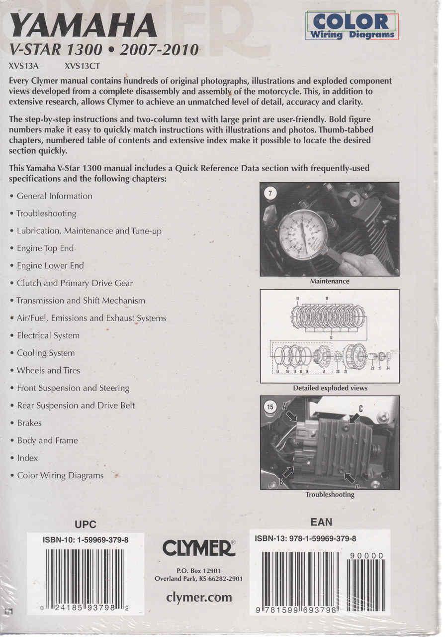 yamaha v star 1300 2007 2010 workshop manual 9781599693798 back [ 895 x 1280 Pixel ]