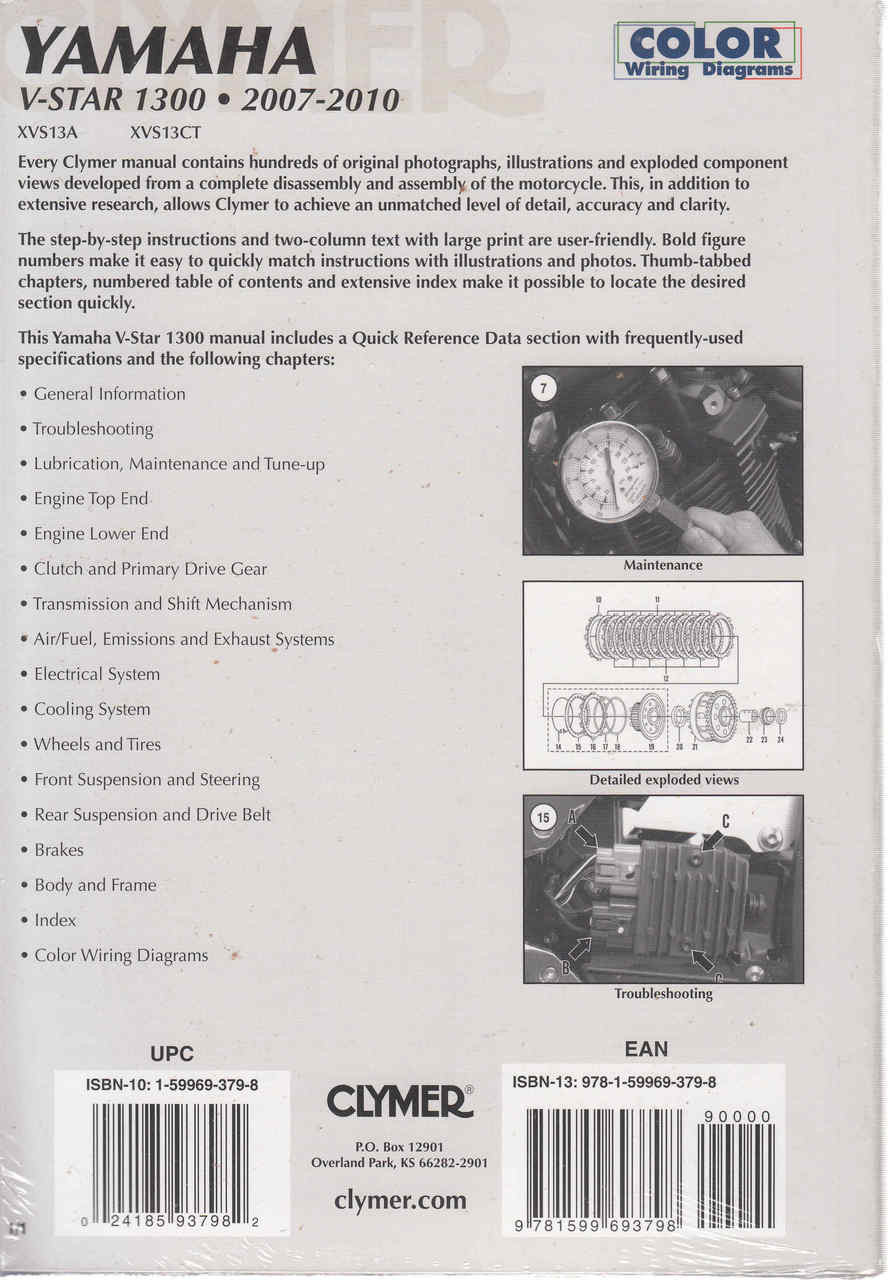 hight resolution of  yamaha v star 1300 2007 2010 workshop manual 9781599693798 back