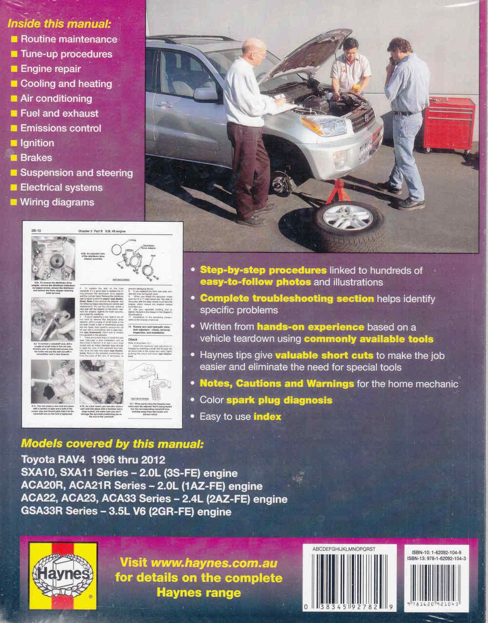 toyota rav4 1996 2012 workshop manual 9781620921043 back  [ 1002 x 1280 Pixel ]