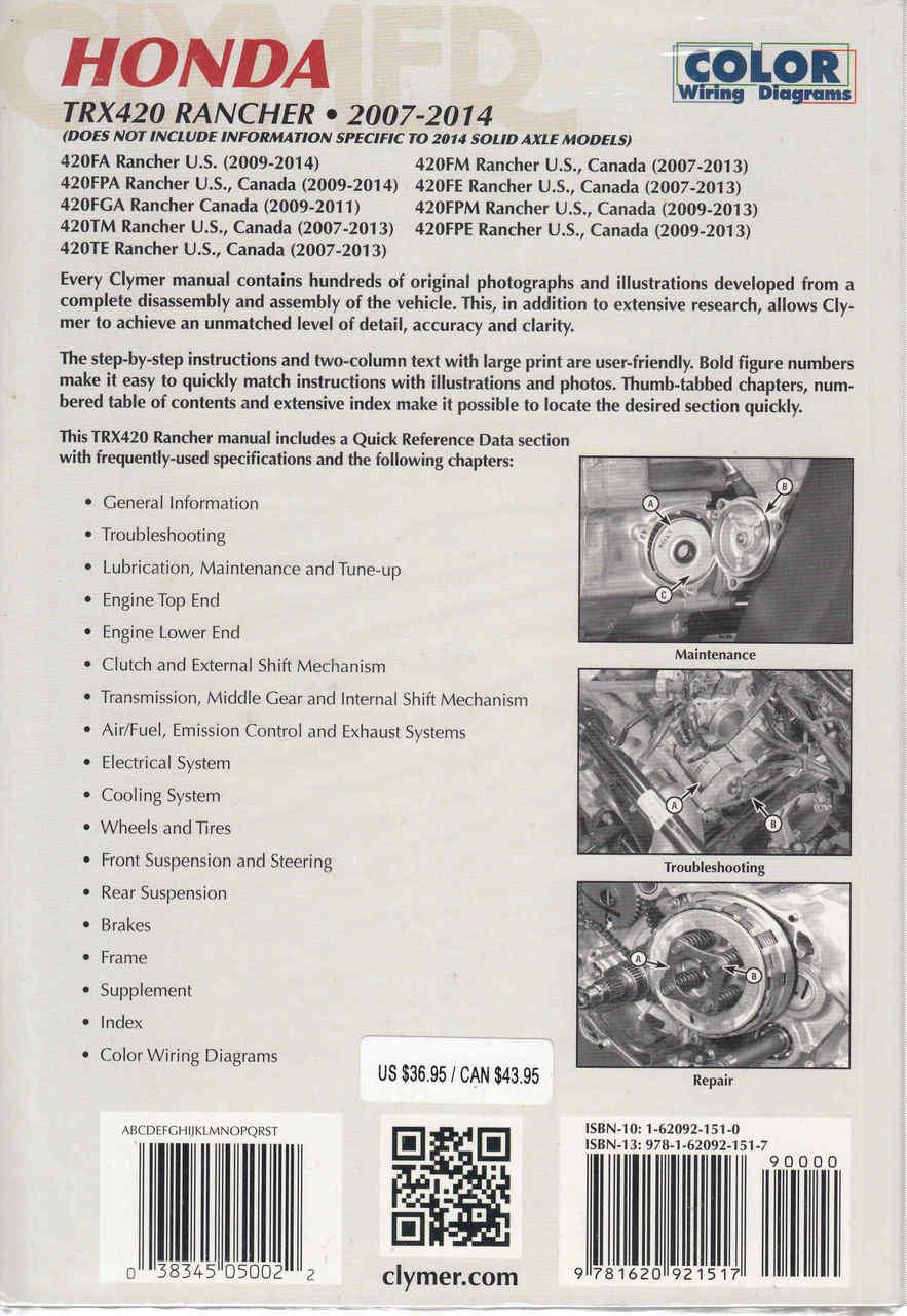 hight resolution of  honda trx420 rancher atv 2007 2014 workshop manual back