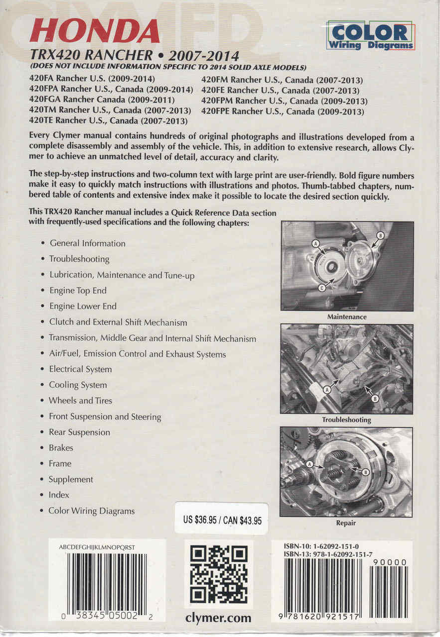 small resolution of  honda trx420 rancher atv 2007 2014 workshop manual back