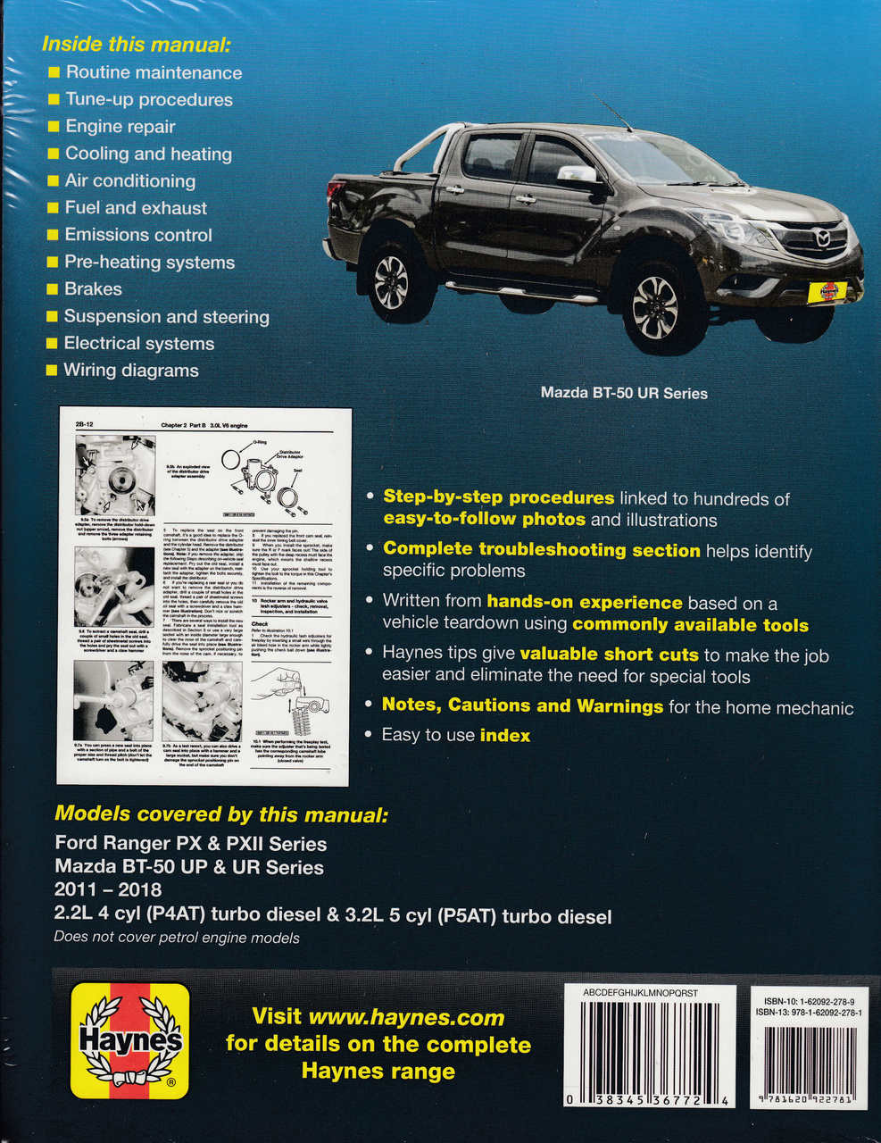 Ford Ranger PX & PXII , Mazda BT50 UP & UR, 22L, 32L Diesel 2011  2018 Workshop Manual