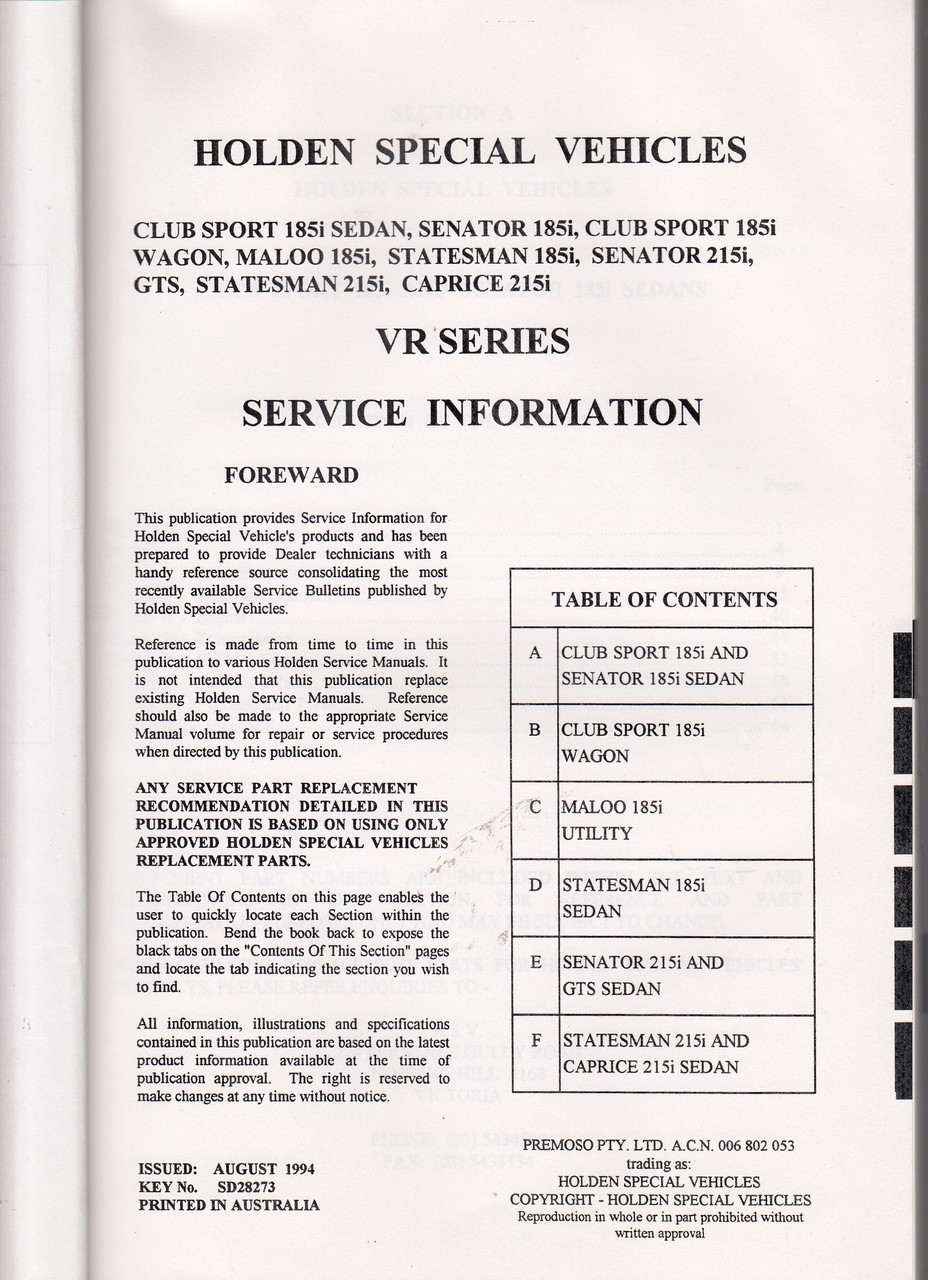 medium resolution of holden hsv vr gts senator clubsport maloo statesman caprice owner service manual