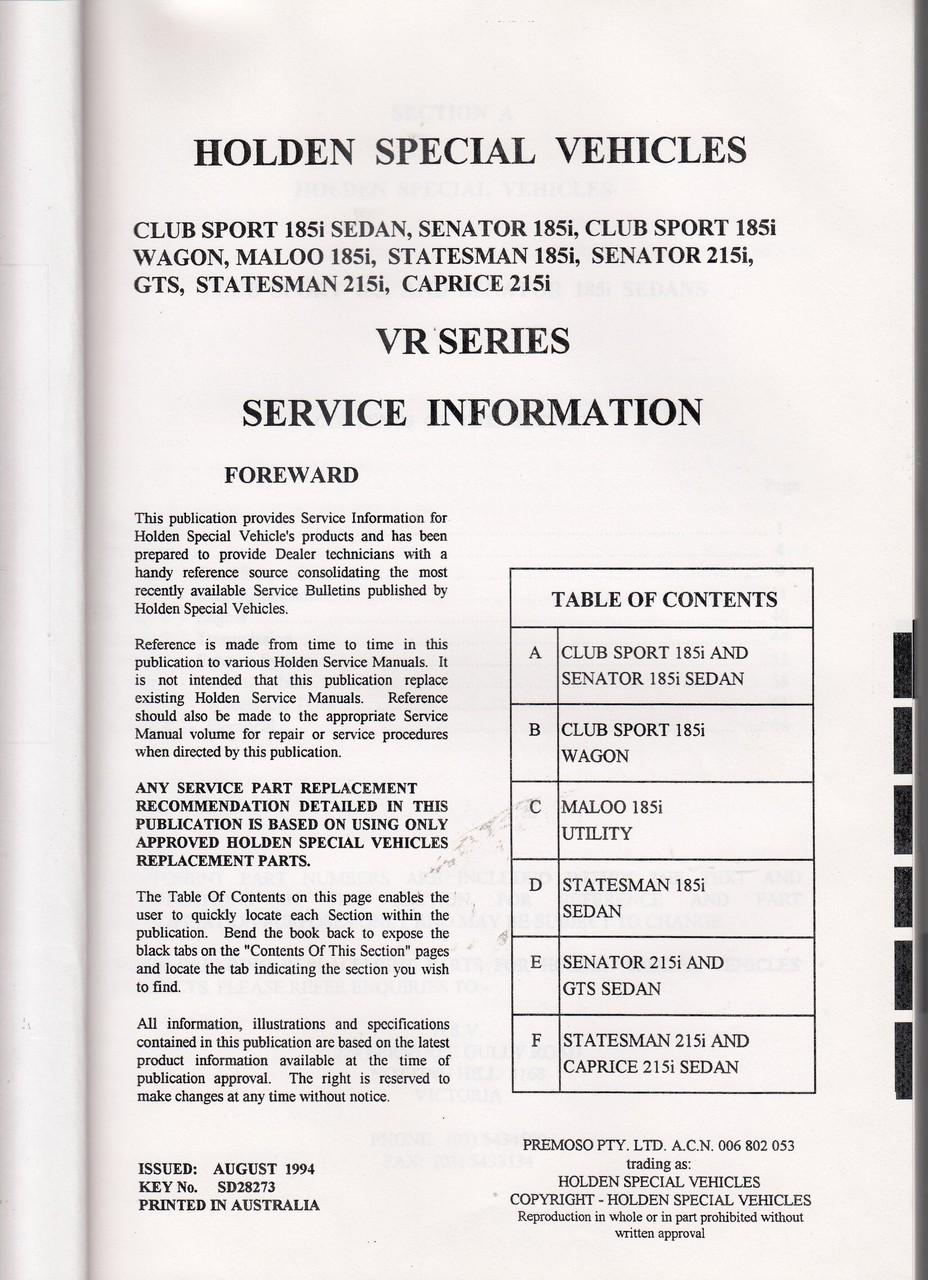 hight resolution of holden hsv vr gts senator clubsport maloo statesman caprice owner service manual