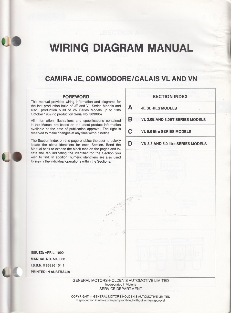 medium resolution of holden camira commodore calais je vl vn series wiring diagram manua vl commodore ecu wiring diagram vl commodore wiring diagram