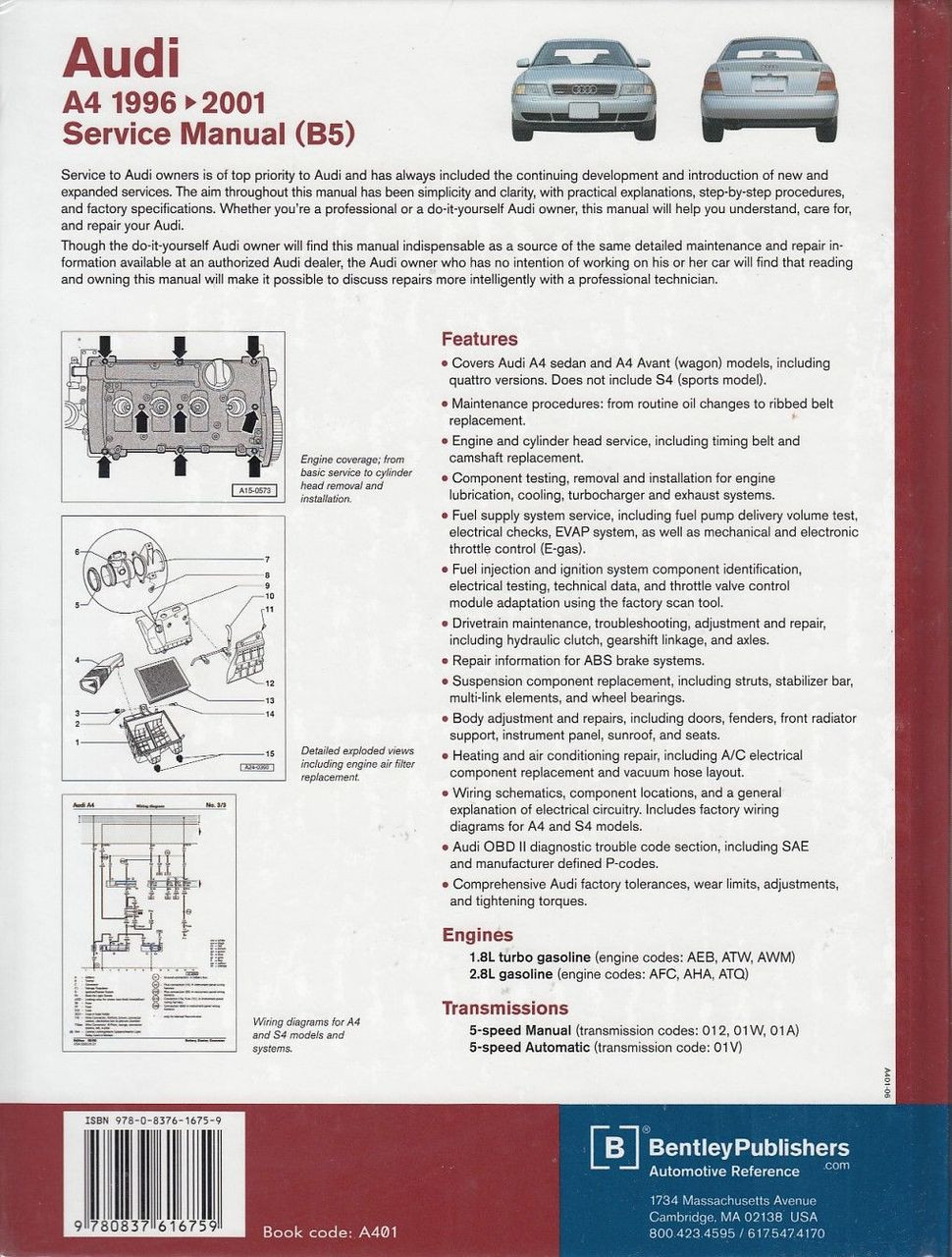hight resolution of  audi a4 1996 2001 workshop manual back cover