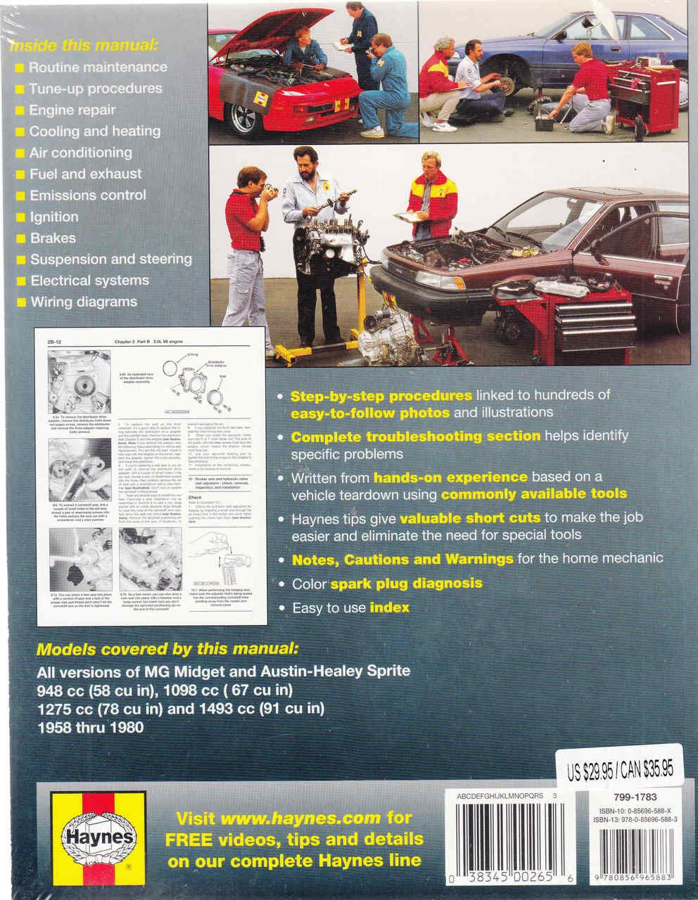 medium resolution of  mg midget amp austin healey sprite 1958 1980 workshop manual