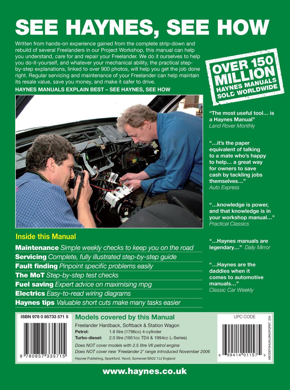 hight resolution of  land rover freelander petrol diesel 1997 2006 workshop manual