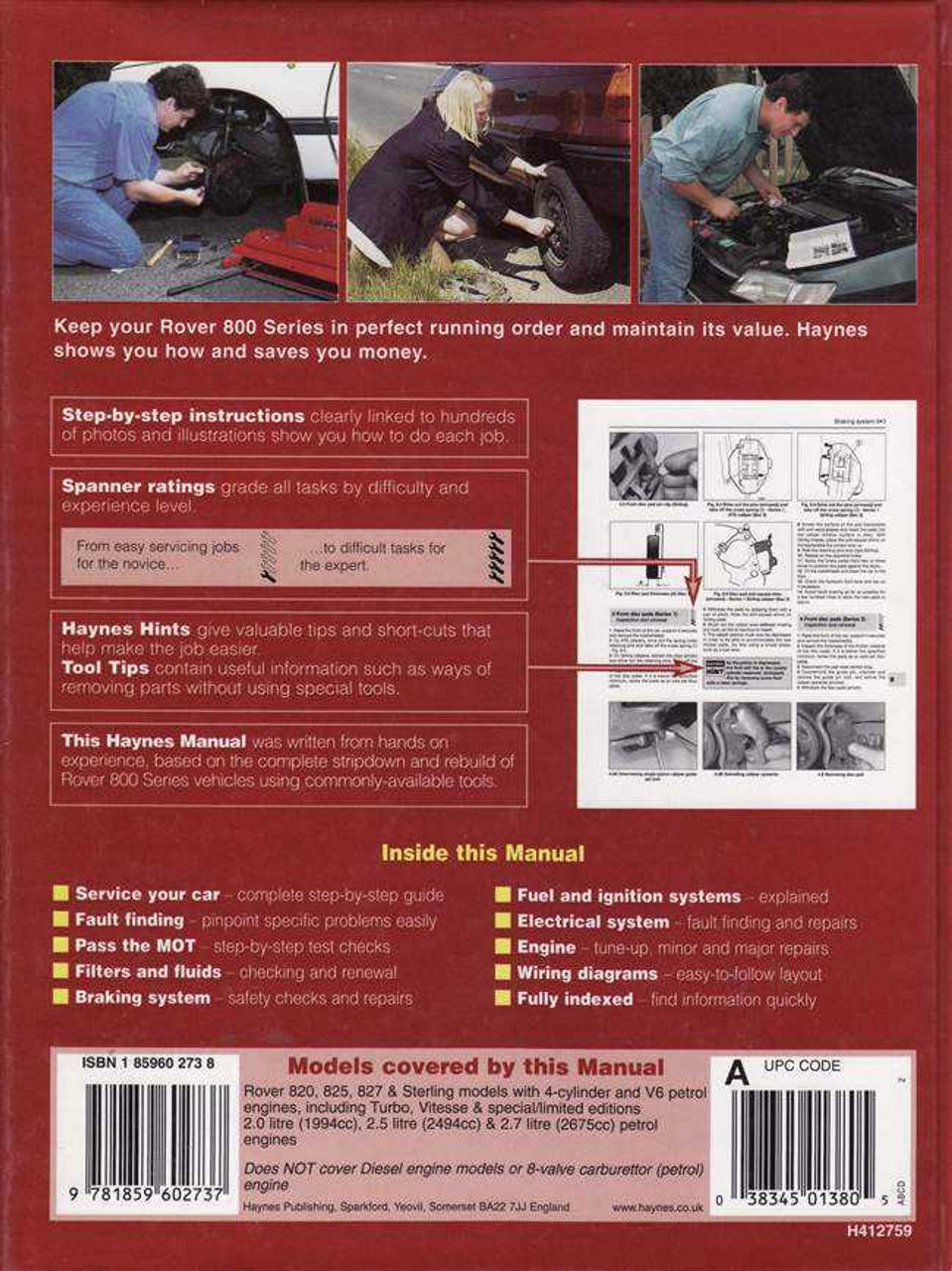 medium resolution of rover 820 825 827 1986 1995 workshop manual rover 827 wiring diagram