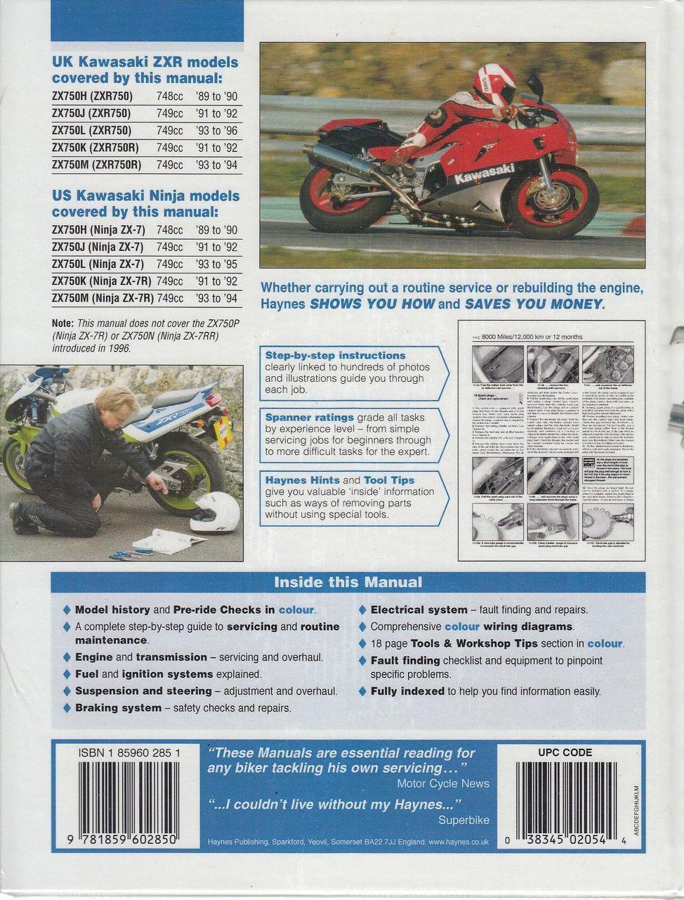 hight resolution of  kawasaki zx750 ninja zx 7 and zxr750 fours 1989 1996 workshop manual