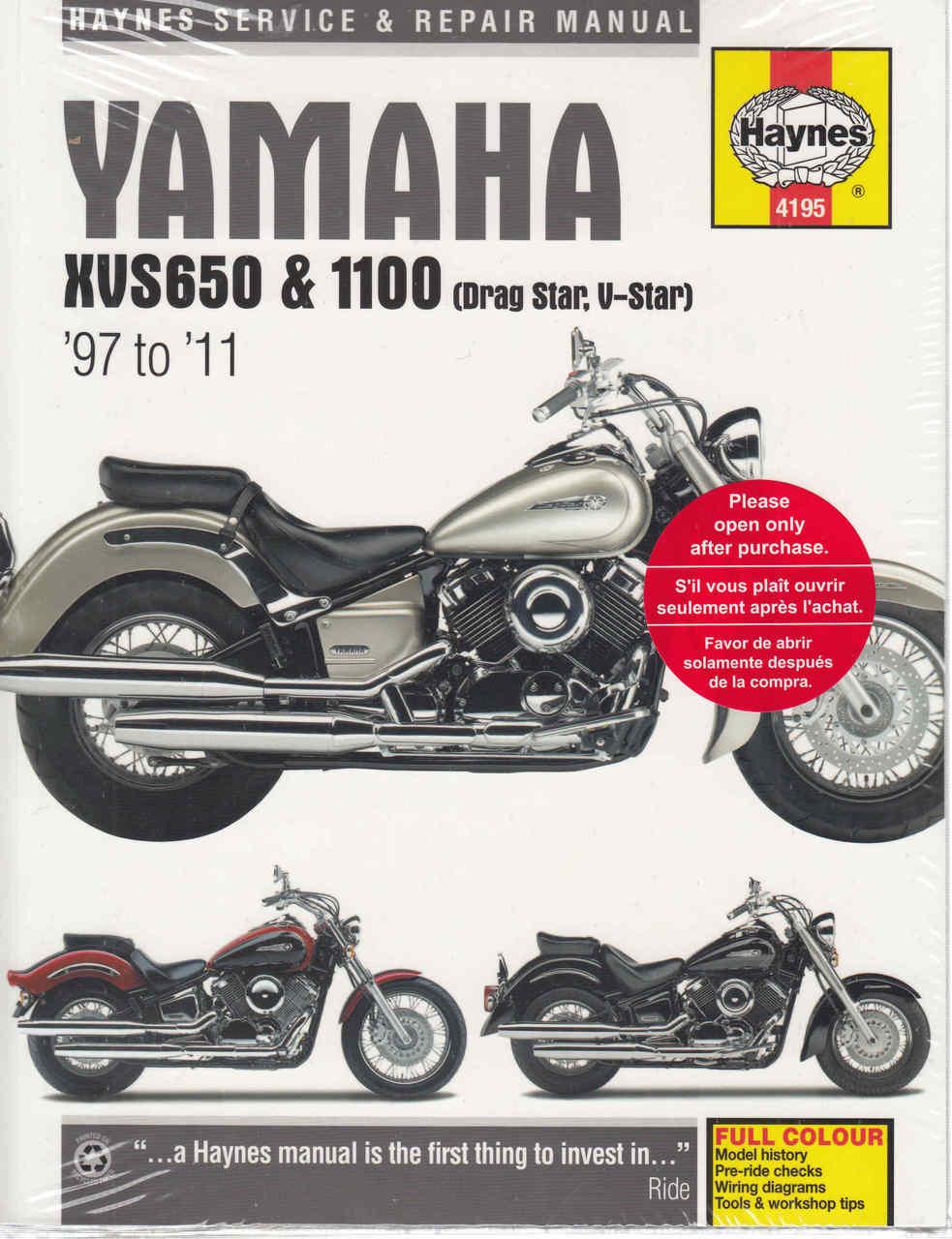 hight resolution of yamaha xvs650 and xvs1100 drag star v star 1997 2011 workshop manual