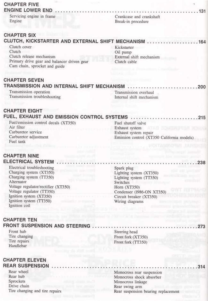 medium resolution of yamaha xt350 tt350 1985 2000 workshop manual yamaha xt 350 wiring diagram