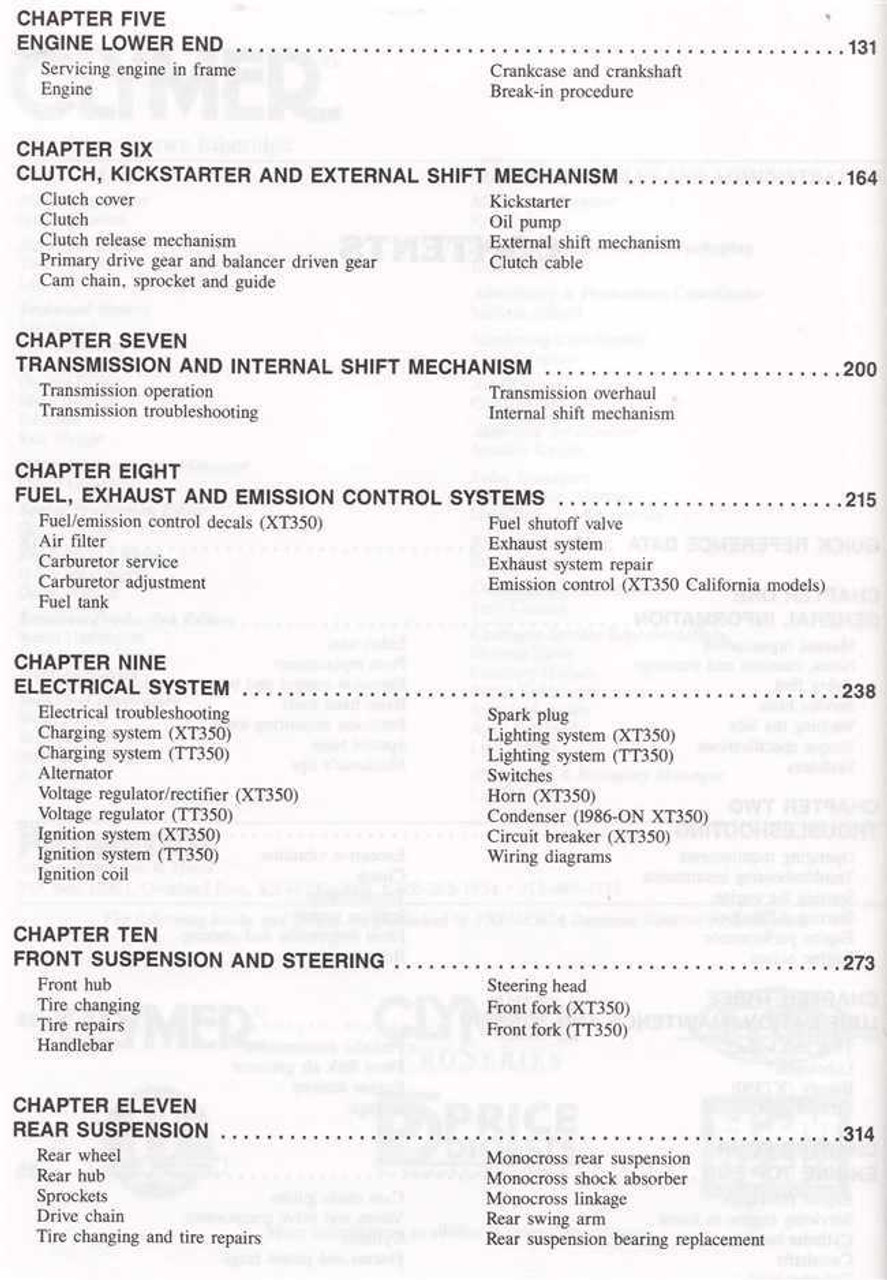 hight resolution of yamaha xt350 tt350 1985 2000 workshop manual yamaha xt 350 wiring diagram