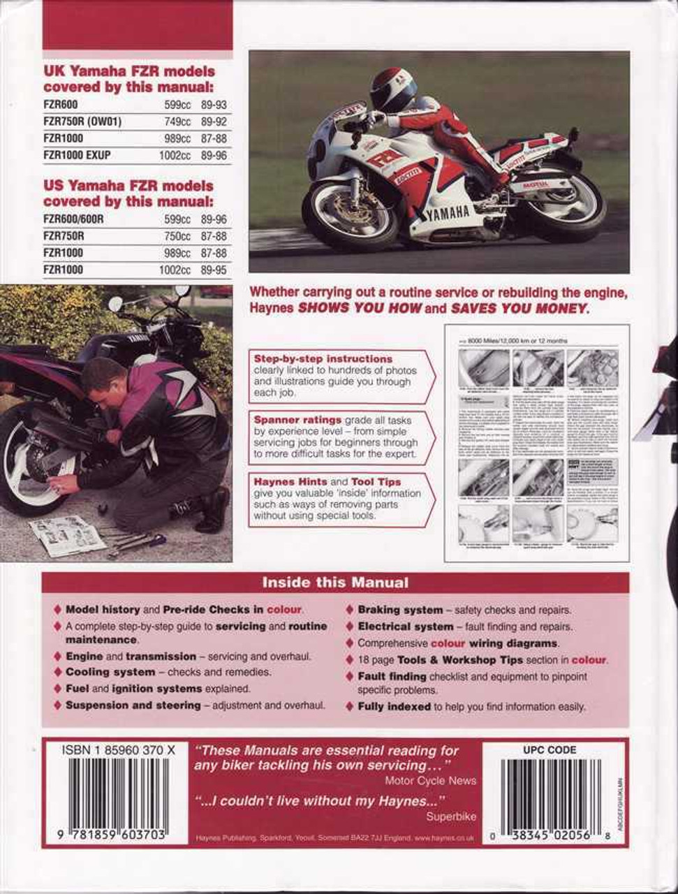 hight resolution of  yamaha fzr600 fzr750 amp fzr1000 fours 1987 1996 workshop
