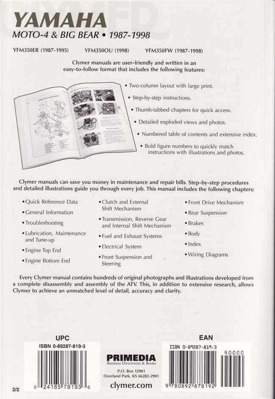 medium resolution of yamaha moto 4 big bear yfm350er ou fw atvs 1987 1998 workshop manual