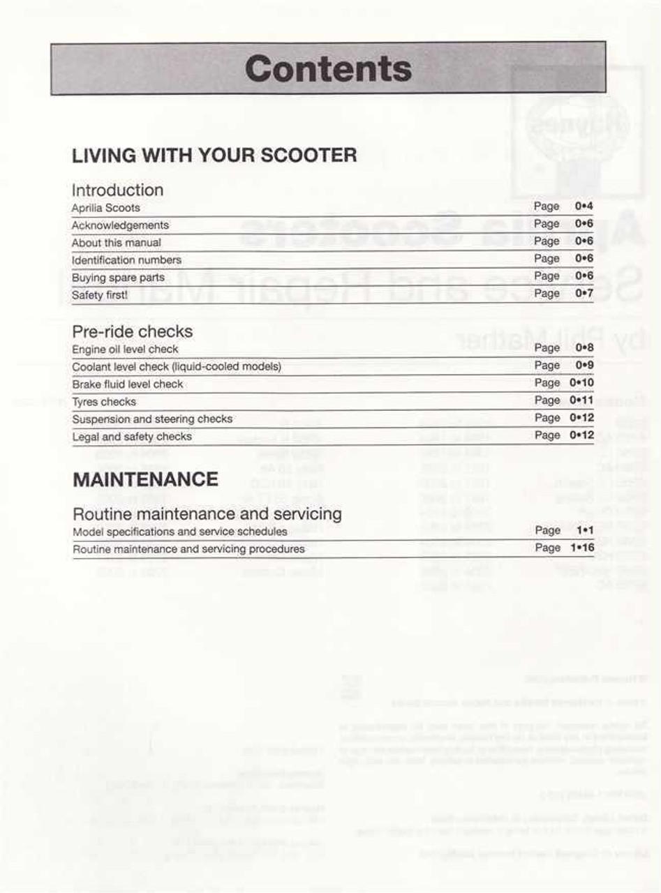 medium resolution of aprilia sr50 rally sonic habana mojito scooters 1993 2009 workshop manual