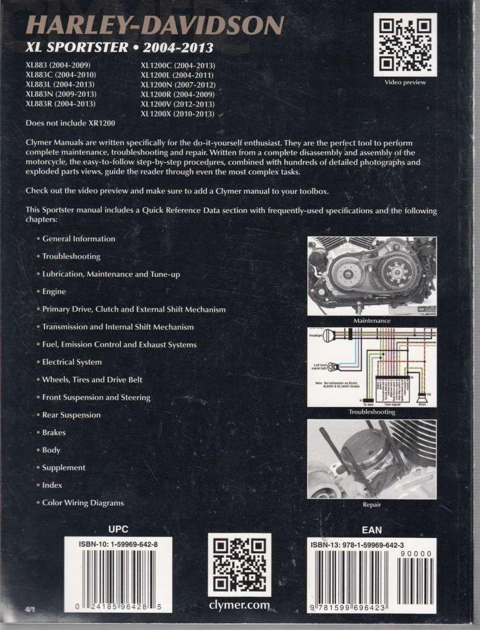 medium resolution of  harley davidson xl sportster 2004 2013 workshop manual back cover