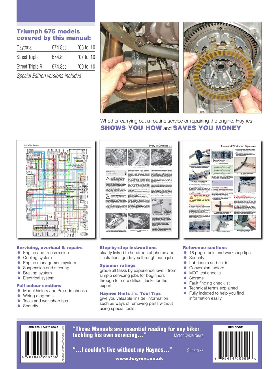 medium resolution of  triumph 675 daytona street triple 06 16 haynes repair manual