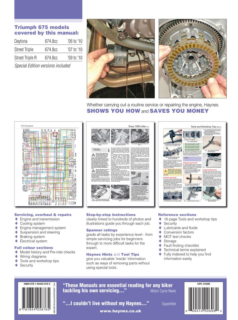 small resolution of  triumph 675 daytona street triple 06 16 haynes repair manual