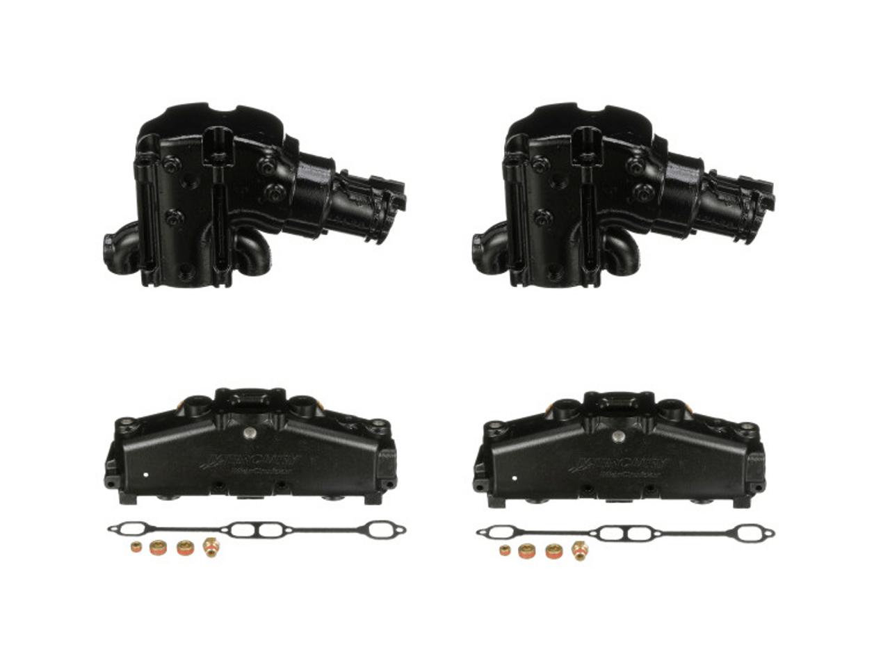 oem mercruiser 350 5 7 5 0 dry joint sb v8 exhaust manifold riser kit 14 degree