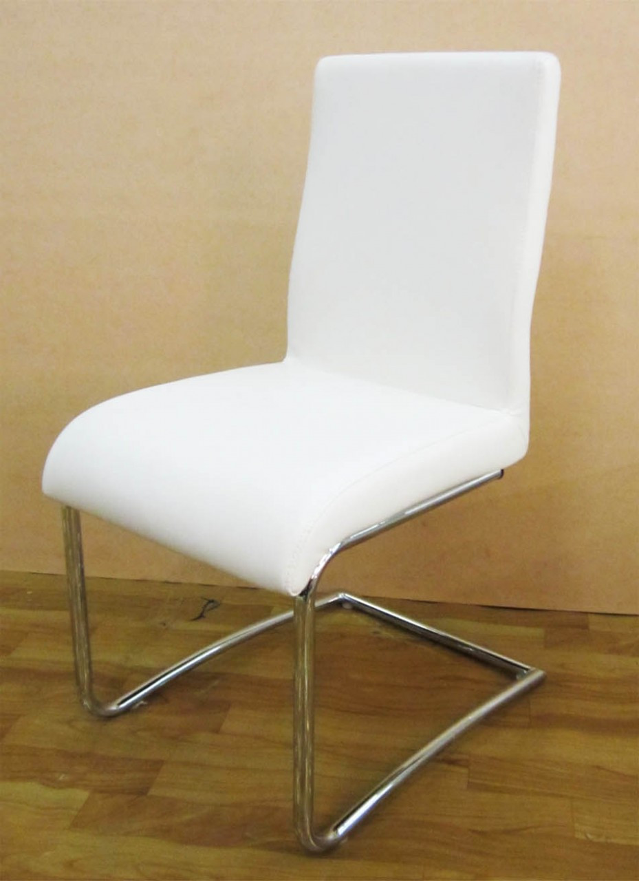Cheap Dining Chair White Pu Leather Dining Chair