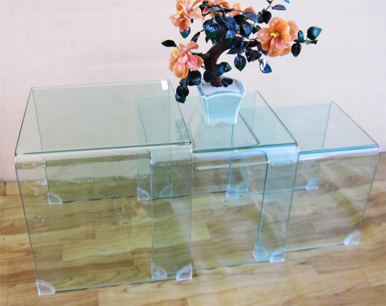 modern glass 3 pieces set coffee table last floor displaying set
