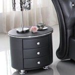 White Pu Leather Bedside Table Diamond Handles Cheap Online Sales