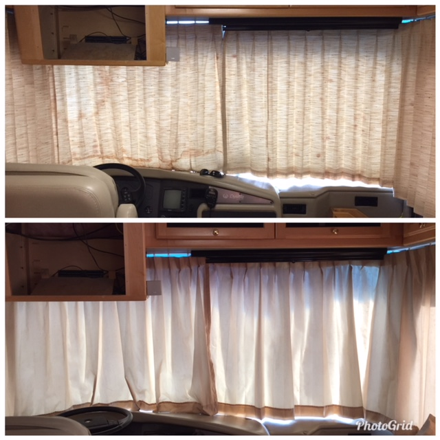 custom rv windshield pleated lined drapes