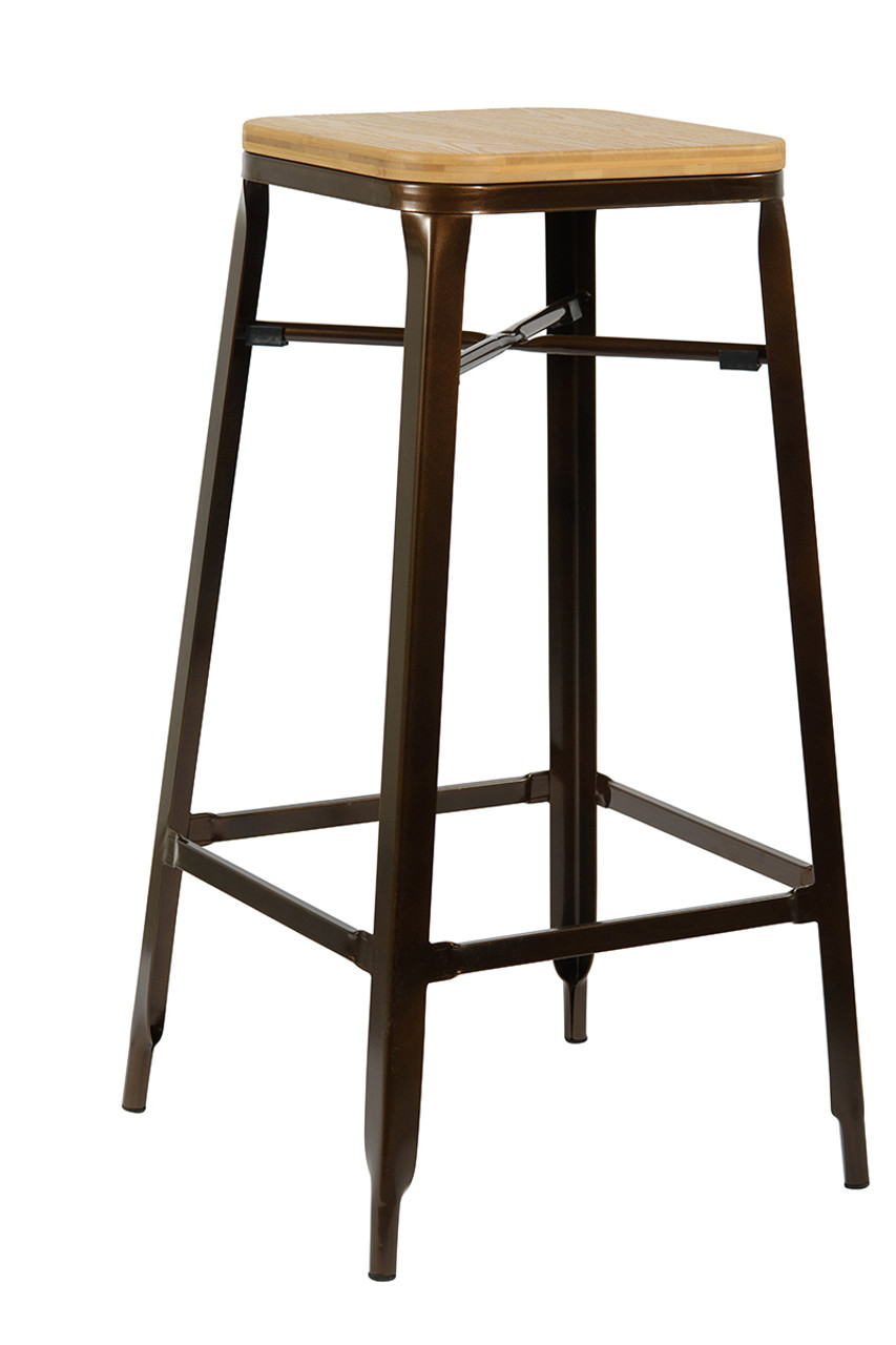 Wood Bar Chairs Turin Antique Natural Bar Stool