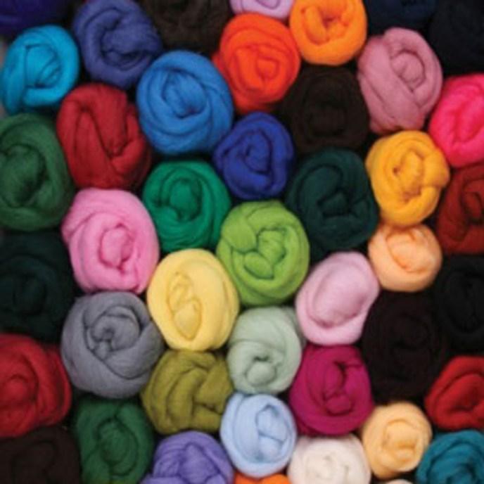 Corriedale wool top bundles in assorted colors