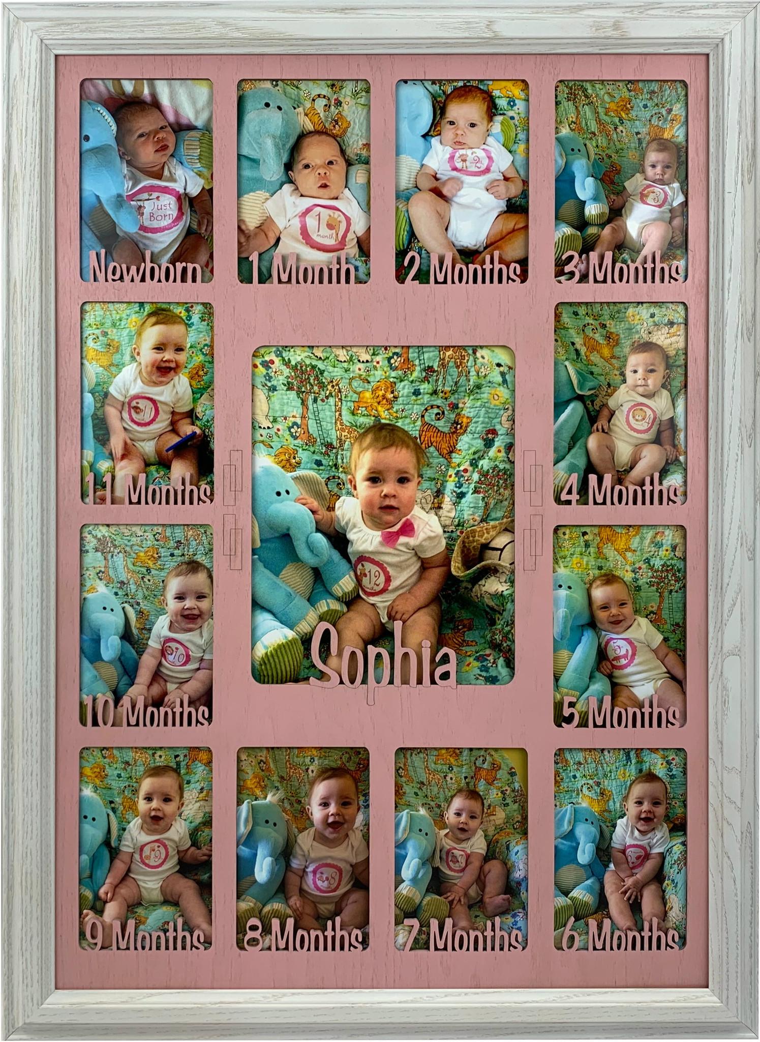 12 Month Photo Collage : month, photo, collage, Months, Picture, Frame, Collage, Personalized, Black, Matte, First, Talkingbread.co.il