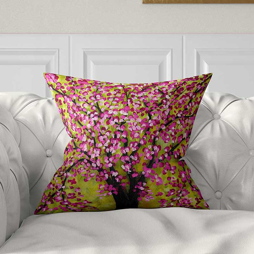 cherry tree pillow case throw pillow cover purple pink green