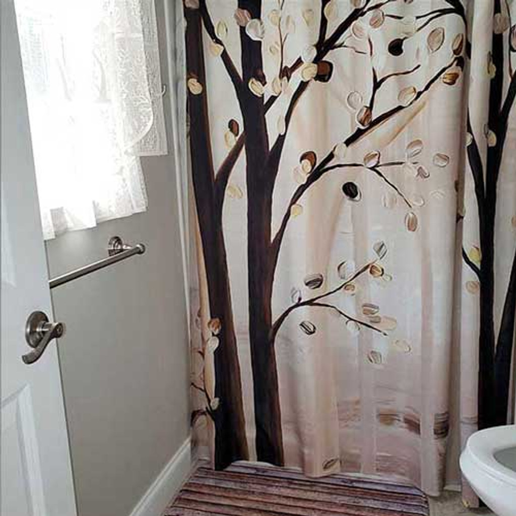 brown and beige trees art shower curtain bath mat with unique design