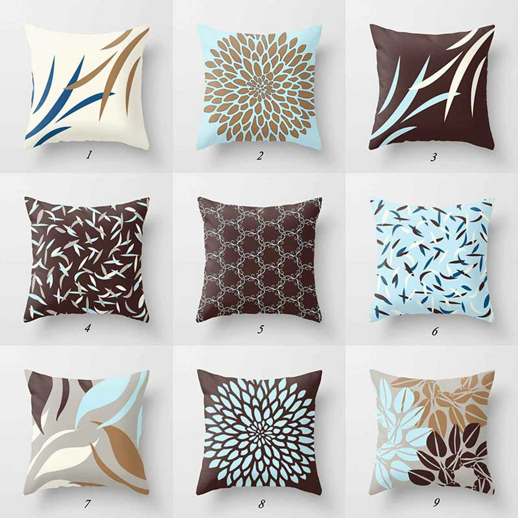 blue and brown throw pillow covers decorative pillows home decor