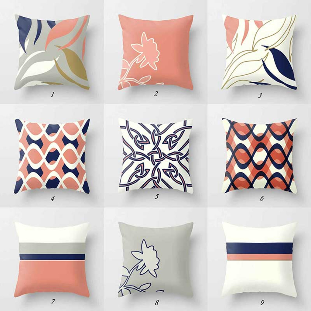 decorative pillow covers mix match throw pillow cases pink blue gray