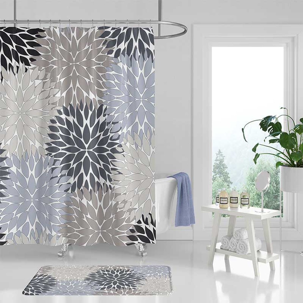 floral shower curtain dahlia bath mat set in blue beige and gray